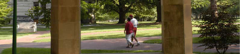 Picture of two people walking across campus